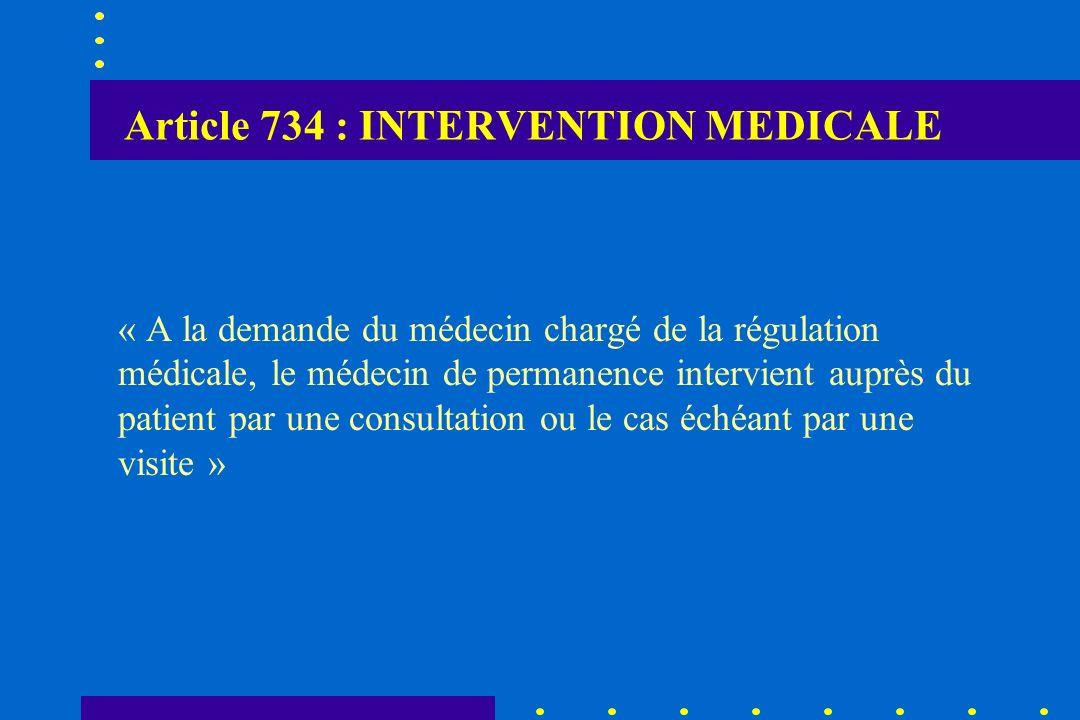Article 734 : INTERVENTION MEDICALE « A la demande du médecin chargé de la régulation médicale, le médecin de permanence intervient auprès du patient