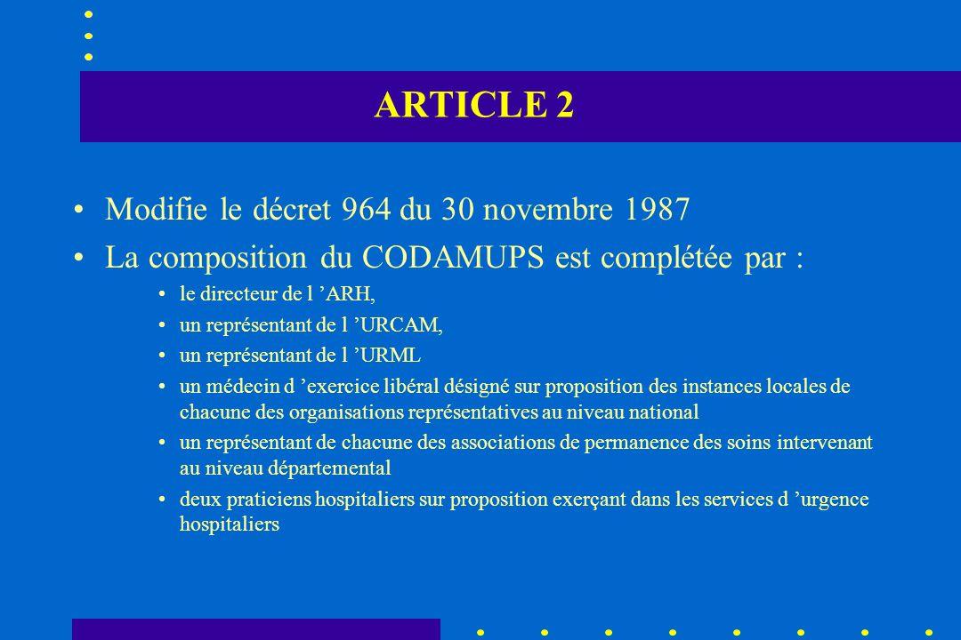 ARTICLE 2 Modifie le décret 964 du 30 novembre 1987 La composition du CODAMUPS est complétée par : le directeur de l ARH, un représentant de l URCAM,