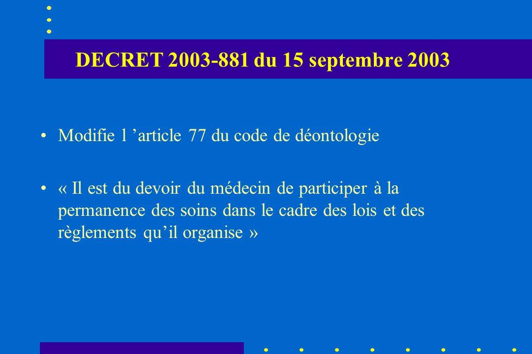 DECRET 2003-881 du 15 septembre 2003 Modifie l article 77 du code de déontologie « Il est du devoir du médecin de participer à la permanence des soins
