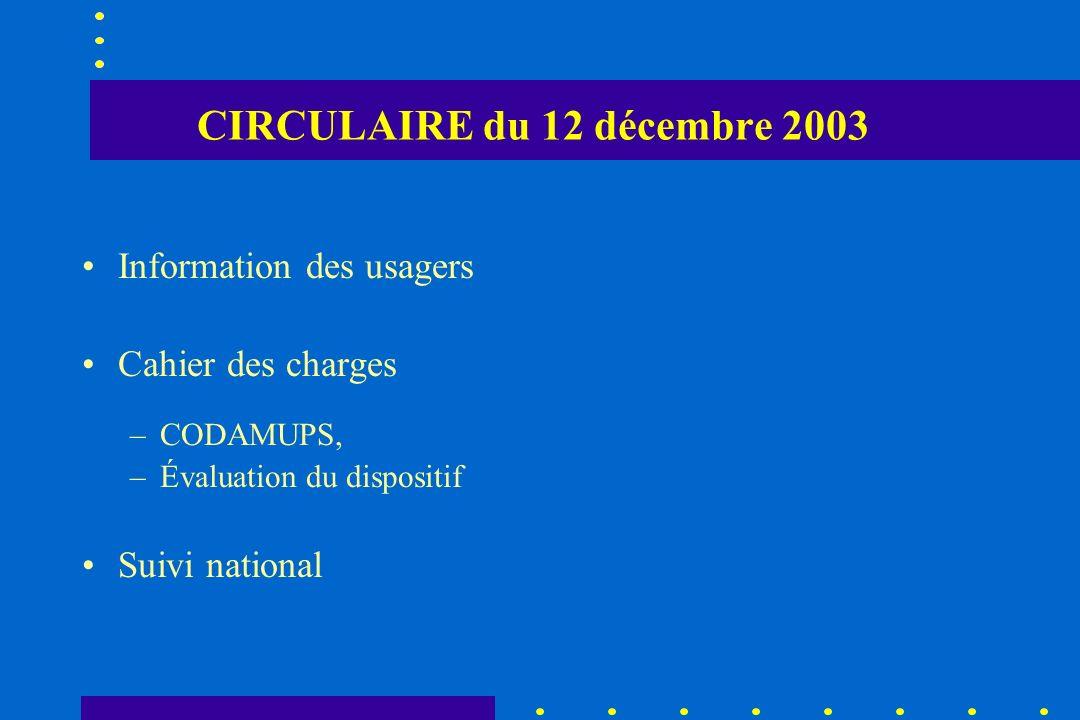 CIRCULAIRE du 12 décembre 2003 Information des usagers Cahier des charges –CODAMUPS, –Évaluation du dispositif Suivi national