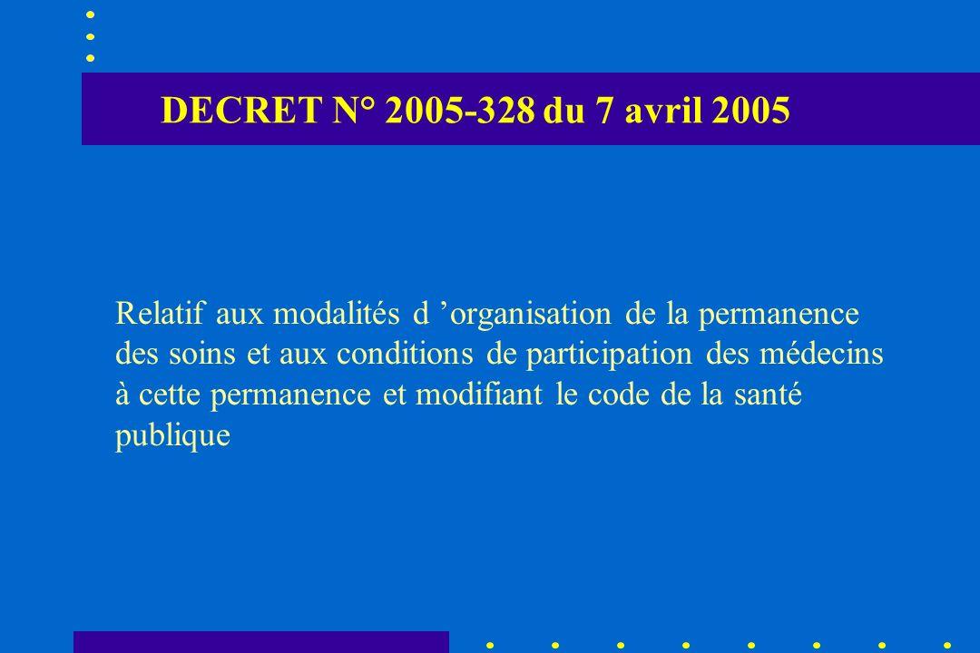 DECRET N° 2005-328 du 7 avril 2005 Relatif aux modalités d organisation de la permanence des soins et aux conditions de participation des médecins à c