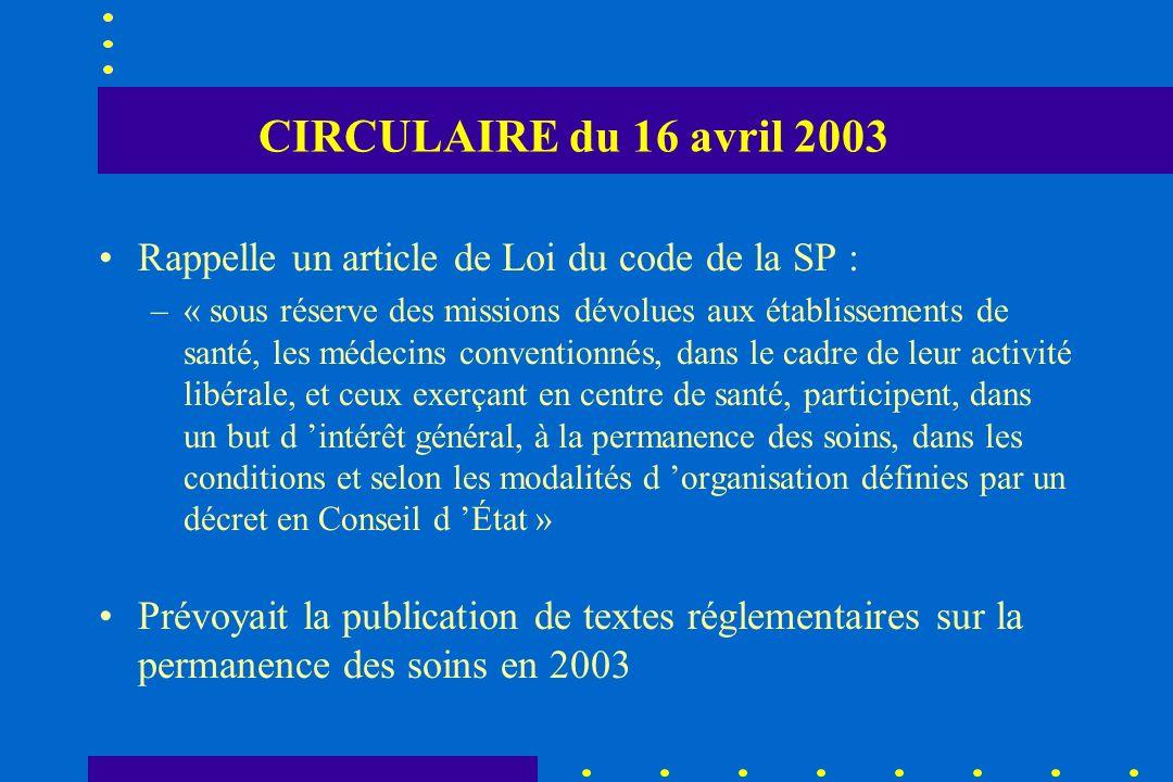 CIRCULAIRE du 16 avril 2003 Rappelle un article de Loi du code de la SP : –« sous réserve des missions dévolues aux établissements de santé, les médec