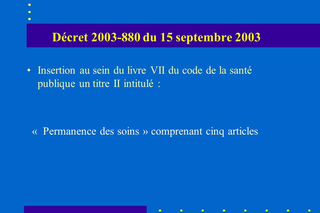 Décret 2003-880 du 15 septembre 2003 Insertion au sein du livre VII du code de la santé publique un titre II intitulé : « Permanence des soins » compr
