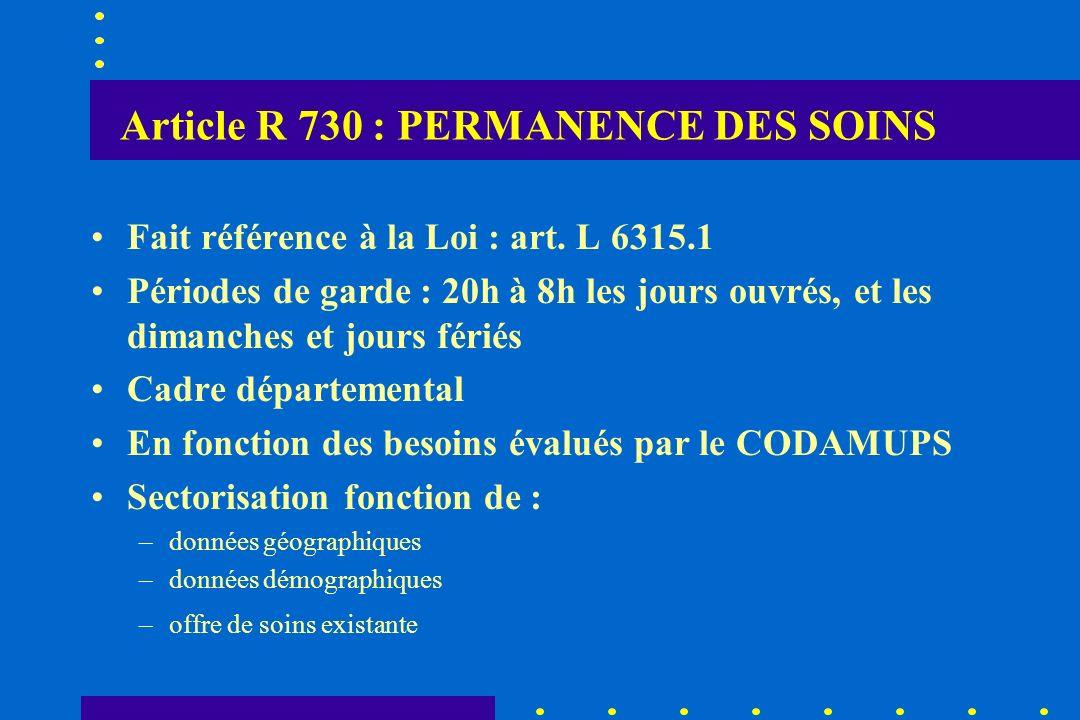Article R 730 : PERMANENCE DES SOINS Fait référence à la Loi : art. L 6315.1 Périodes de garde : 20h à 8h les jours ouvrés, et les dimanches et jours