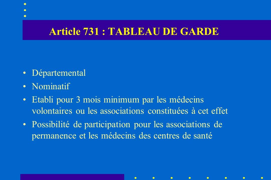 Article 731 : TABLEAU DE GARDE Départemental Nominatif Etabli pour 3 mois minimum par les médecins volontaires ou les associations constituées à cet e