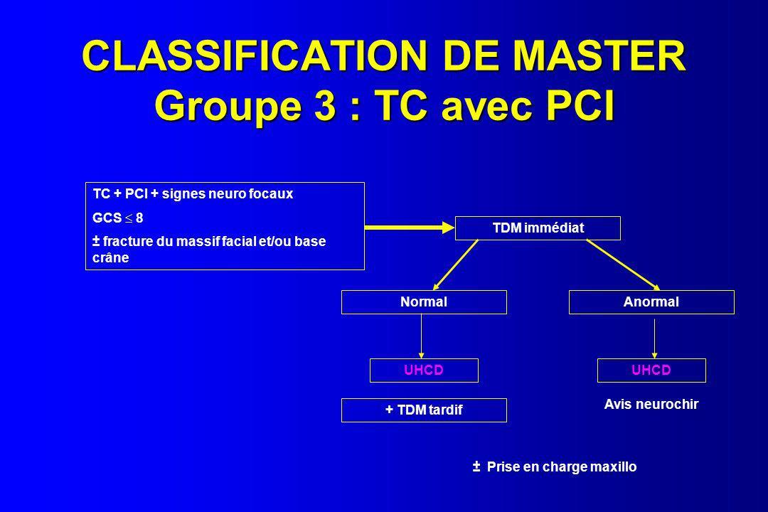 CLASSIFICATION DE MASTER Groupe 3 : TC avec PCI TC + PCI + signes neuro focaux GCS 8 ± fracture du massif facial et/ou base crâne TDM immédiat NormalA