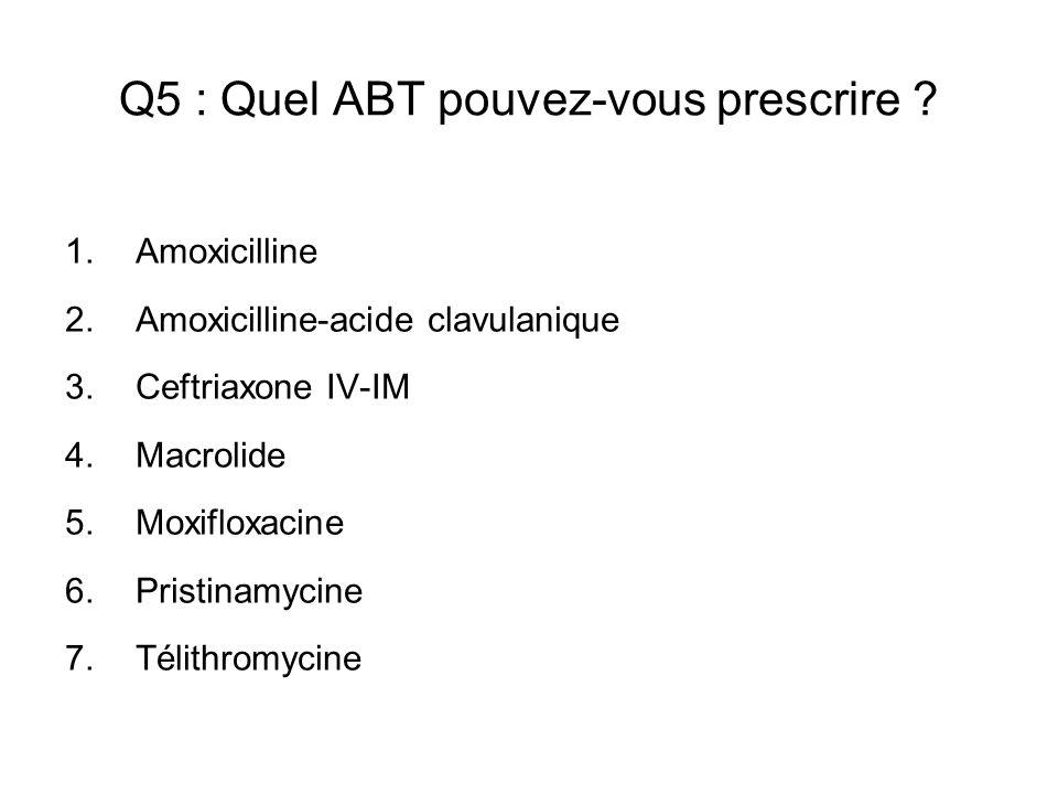 Q5 : Quel ABT pouvez-vous prescrire ? 1.Amoxicilline 2.Amoxicilline-acide clavulanique 3.Ceftriaxone IV-IM 4.Macrolide 5.Moxifloxacine 6.Pristinamycin