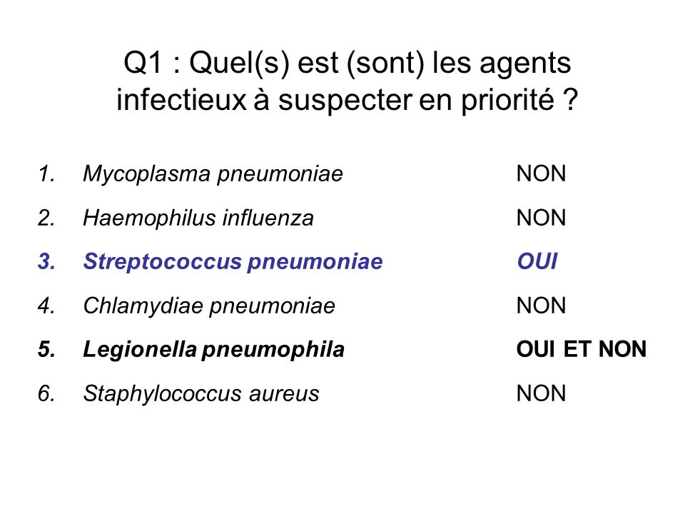 Q1 : Quel(s) est (sont) les agents infectieux à suspecter en priorité ? 1.Mycoplasma pneumoniae NON 2.Haemophilus influenzaNON 3.Streptococcus pneumon