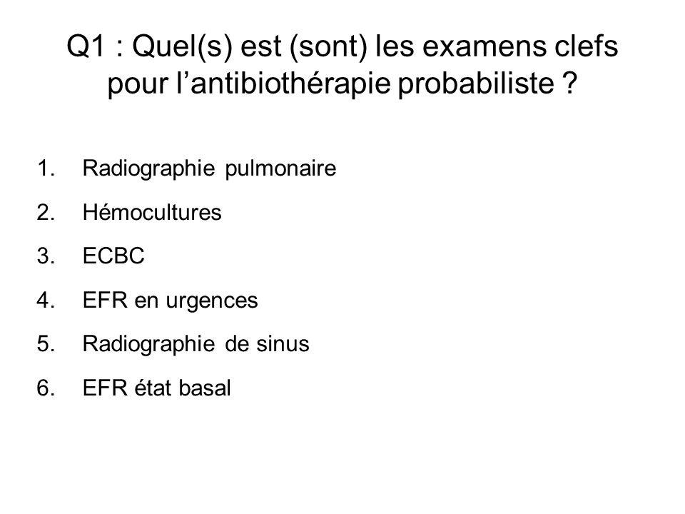 Q1 : Quel(s) est (sont) les examens clefs pour lantibiothérapie probabiliste ? 1.Radiographie pulmonaire 2.Hémocultures 3.ECBC 4.EFR en urgences 5.Rad