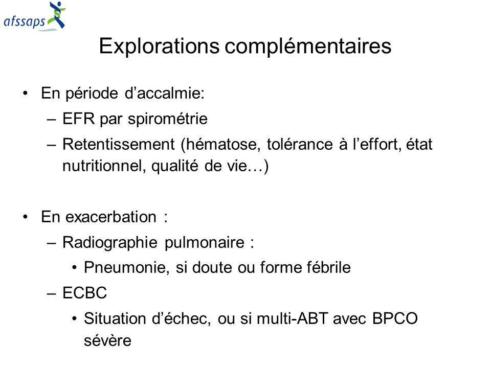 Explorations complémentaires En période daccalmie: –EFR par spirométrie –Retentissement (hématose, tolérance à leffort, état nutritionnel, qualité de