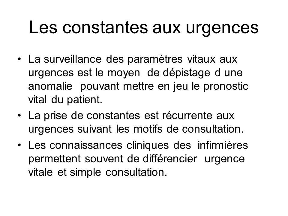 Les constantes aux urgences La surveillance des paramètres vitaux aux urgences est le moyen de dépistage d une anomalie pouvant mettre en jeu le pronostic vital du patient.