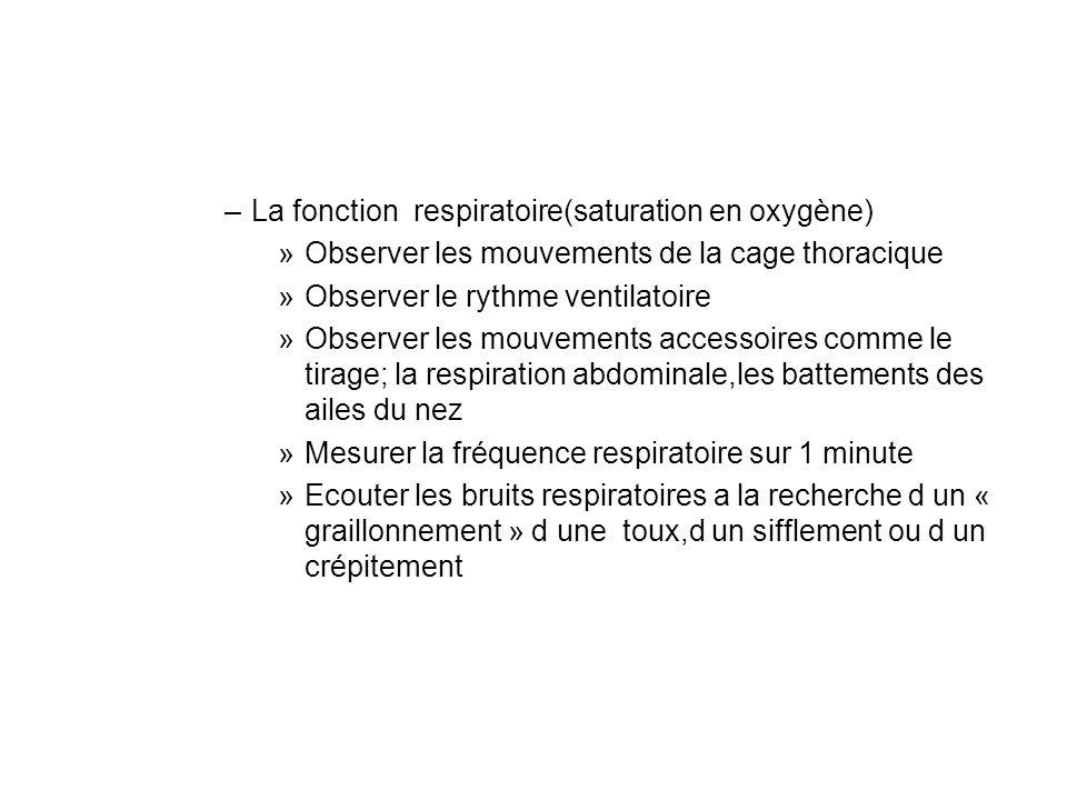 –La fonction respiratoire(saturation en oxygène) »Observer les mouvements de la cage thoracique »Observer le rythme ventilatoire »Observer les mouvements accessoires comme le tirage; la respiration abdominale,les battements des ailes du nez »Mesurer la fréquence respiratoire sur 1 minute »Ecouter les bruits respiratoires a la recherche d un « graillonnement » d une toux,d un sifflement ou d un crépitement
