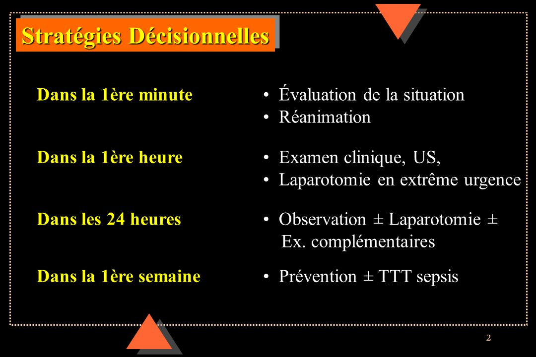 2 Stratégies Décisionnelles Dans la 1ère semaine Prévention ± TTT sepsis Dans la 1ère minute Évaluation de la situation Réanimation Dans la 1ère heure