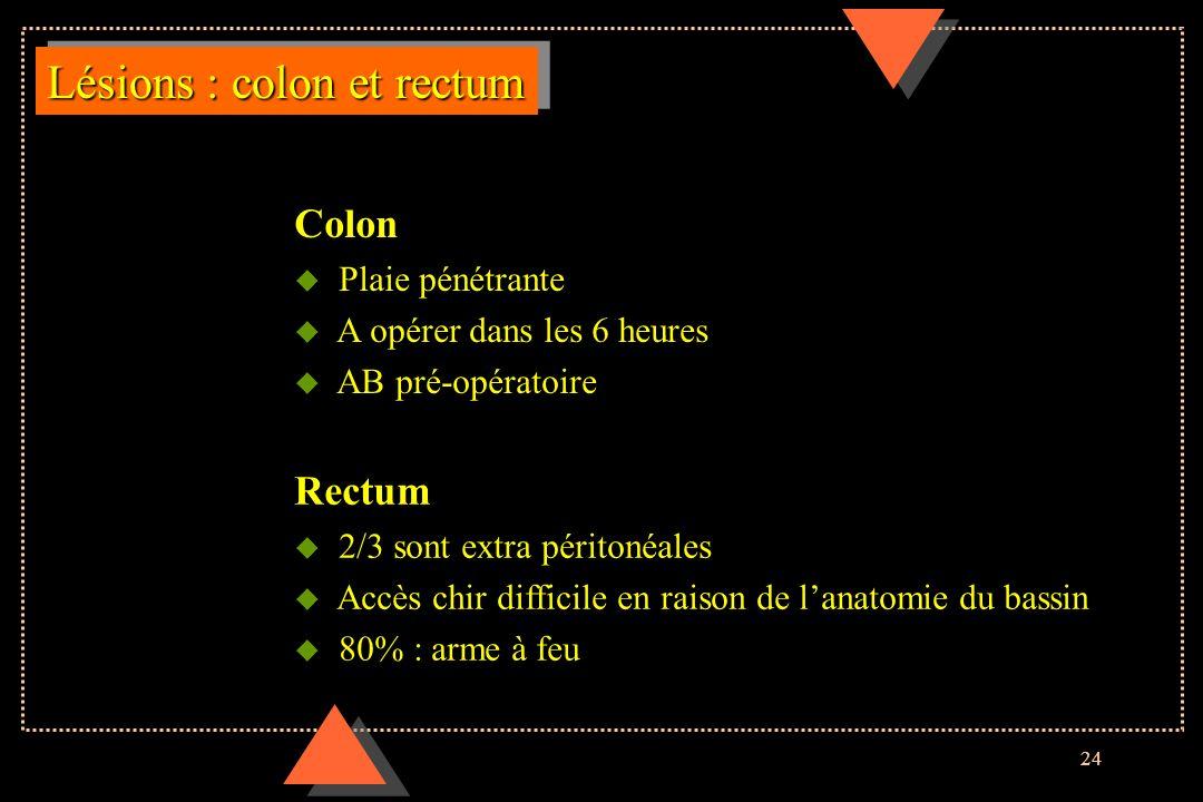 24 Lésions : colon et rectum Colon u Plaie pénétrante u A opérer dans les 6 heures u AB pré-opératoire Rectum u 2/3 sont extra péritonéales u Accès ch
