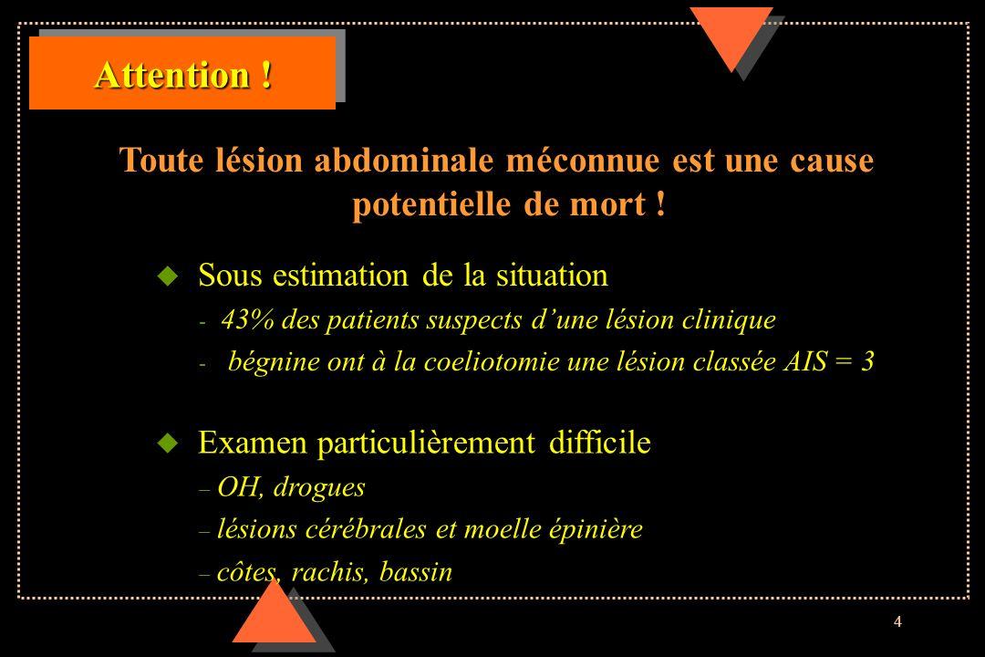 4 Attention ! Toute lésion abdominale méconnue est une cause potentielle de mort ! u Examen particulièrement difficile – OH, drogues – lésions cérébra