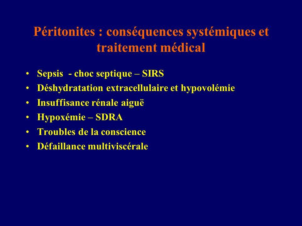 Péritonites : conséquences systémiques et traitement médical Sepsis - choc septique – SIRS Déshydratation extracellulaire et hypovolémie Insuffisance