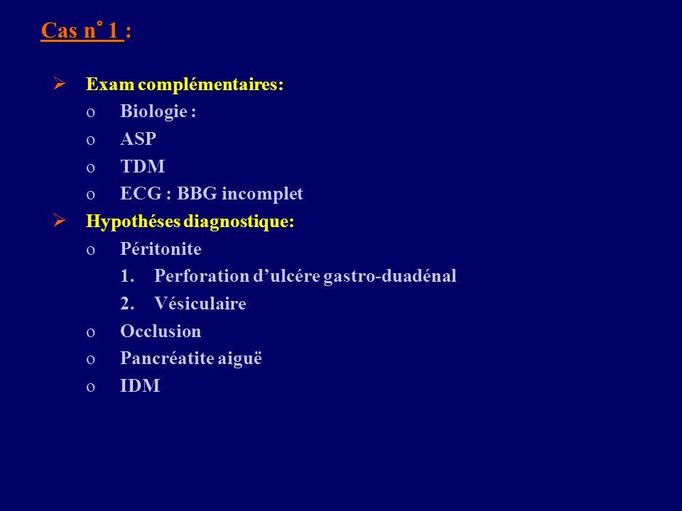 Cas n° 1 : Exam complémentaires: oBiologie : oASP oTDM oECG : BBG incomplet Hypothéses diagnostique: oPéritonite 1.Perforation dulcére gastro-duadénal