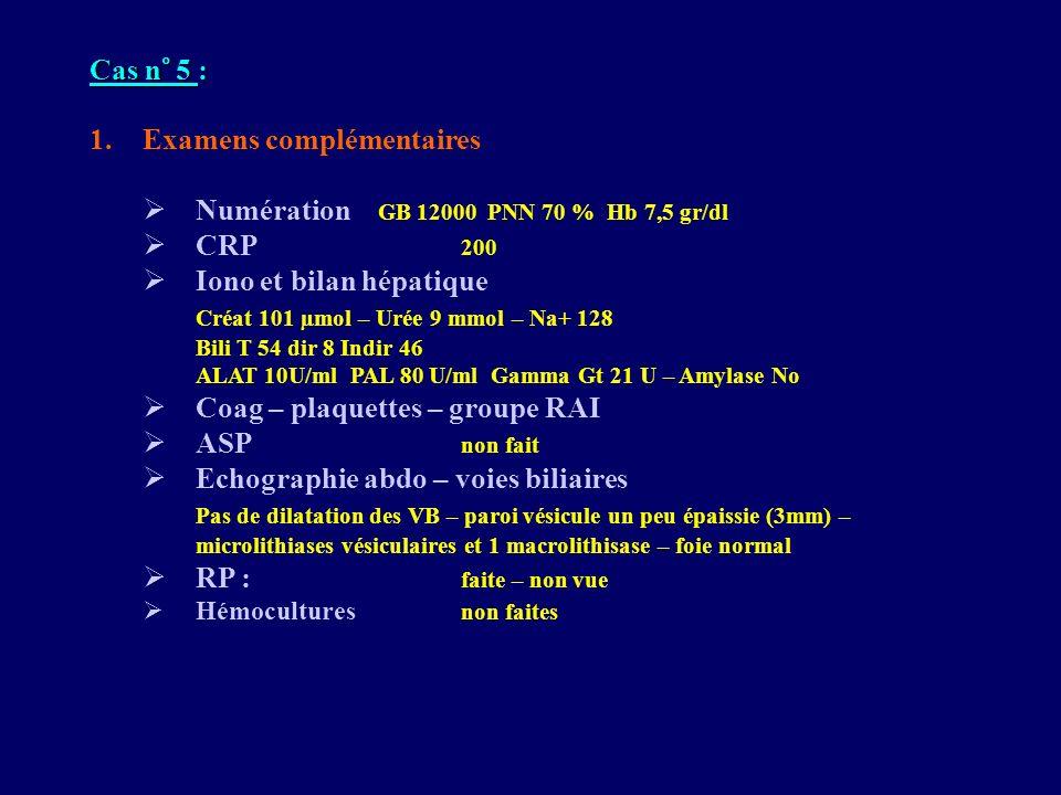 Cas n° 5 : 1.Examens complémentaires Numération GB 12000 PNN 70 % Hb 7,5 gr/dl CRP 200 Iono et bilan hépatique Créat 101 µmol – Urée 9 mmol – Na+ 128