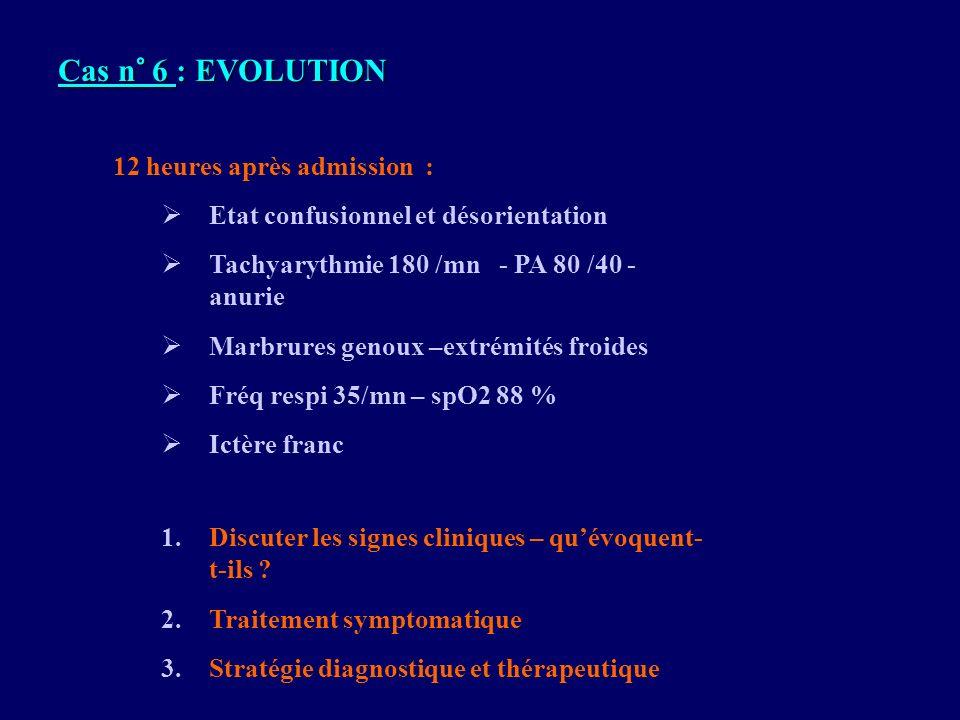 12 heures après admission : Etat confusionnel et désorientation Tachyarythmie 180 /mn - PA 80 /40 - anurie Marbrures genoux –extrémités froides Fréq r