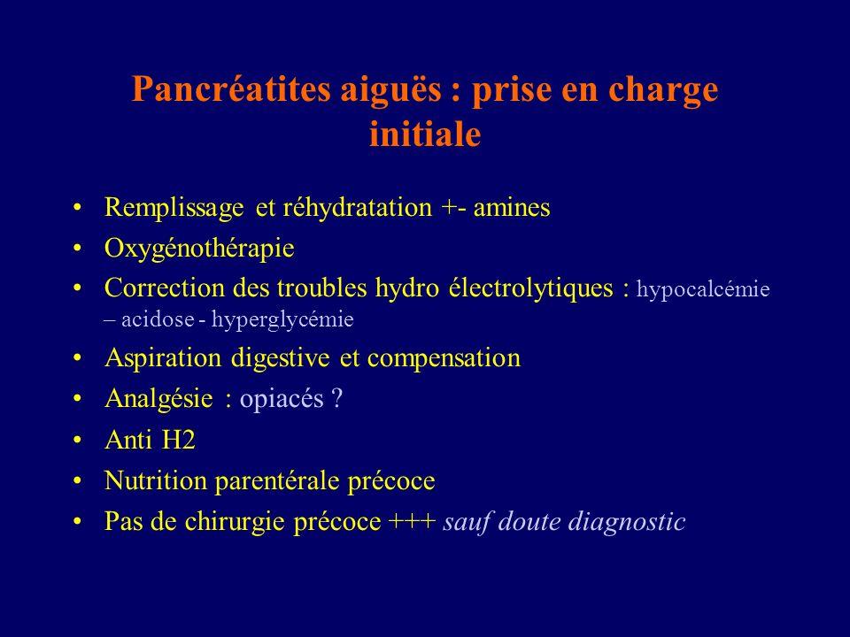 Pancréatites aiguës : prise en charge initiale Remplissage et réhydratation +- amines Oxygénothérapie Correction des troubles hydro électrolytiques :