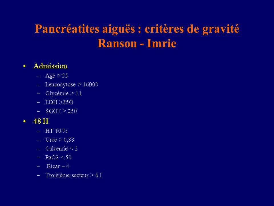 Pancréatites aiguës : critères de gravité Ranson - Imrie Admission –Age > 55 –Leucocytose > 16000 –Glycémie > 11 –LDH >35O –SGOT > 250 48 H –HT 10 % –
