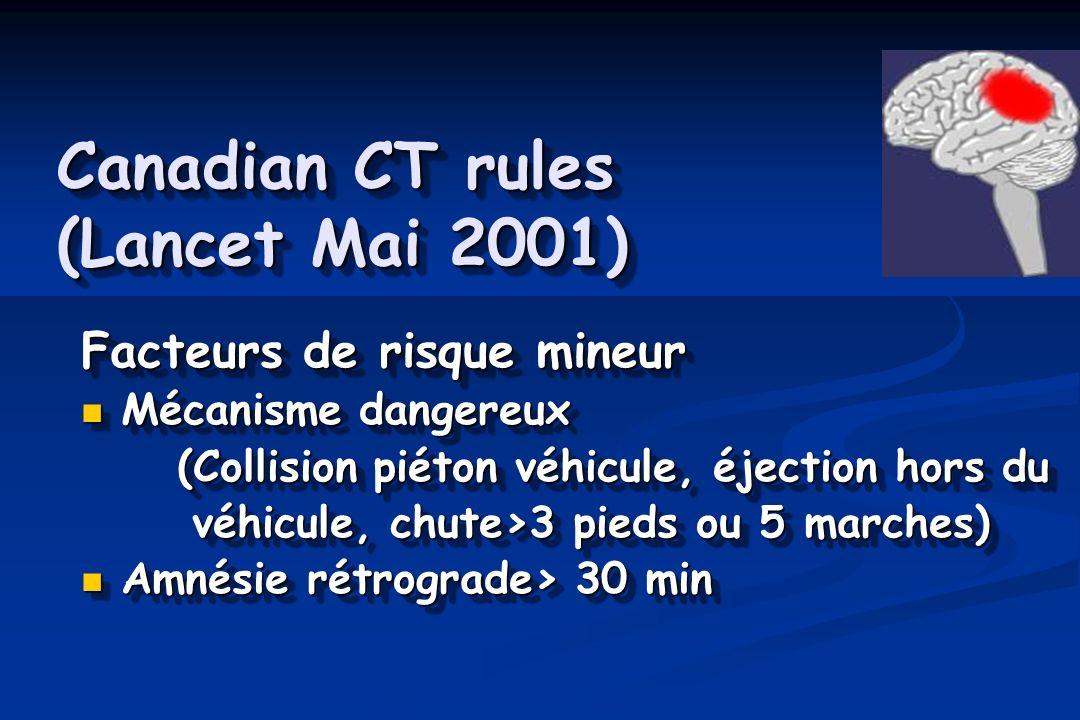 Canadian CT rules (Lancet Mai 2001) Facteurs de risque mineur Mécanisme dangereux Mécanisme dangereux (Collision piéton véhicule, éjection hors du véh