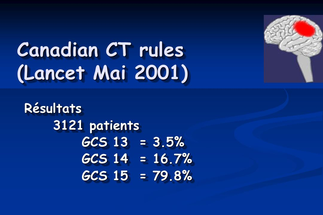 Canadian CT rules (Lancet Mai 2001) Résultats 3121 patients GCS 13 = 3.5% GCS 14 = 16.7% GCS 15 = 79.8% Résultats 3121 patients GCS 13 = 3.5% GCS 14 = 16.7% GCS 15 = 79.8%