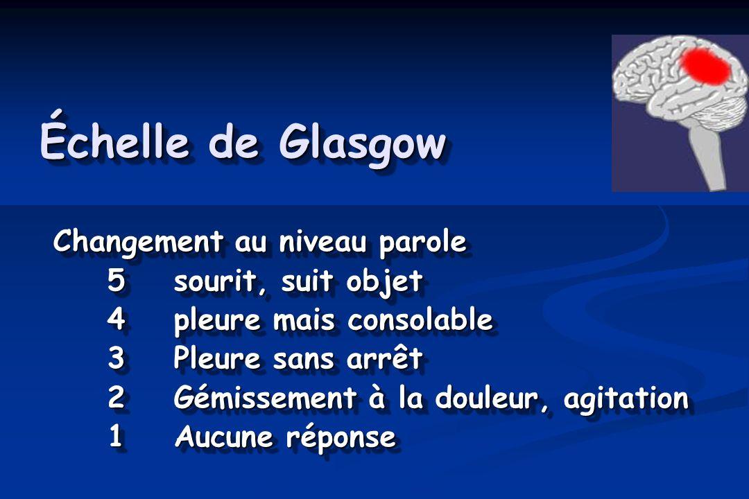 Échelle de Glasgow Changement au niveau parole Changement au niveau parole 5sourit, suit objet 4pleure mais consolable 3Pleure sans arrêt 2Gémissement