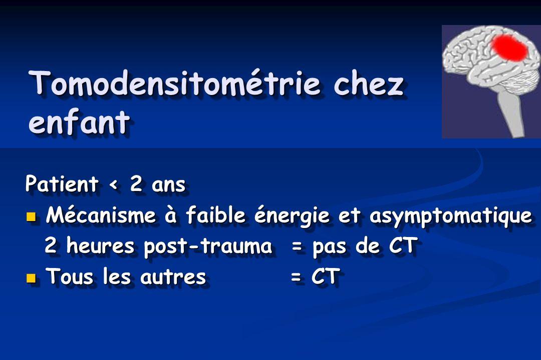 Tomodensitométrie chez enfant Patient < 2 ans Mécanisme à faible énergie et asymptomatique Mécanisme à faible énergie et asymptomatique 2 heures post-trauma = pas de CT 2 heures post-trauma = pas de CT Tous les autres = CT Tous les autres = CT Patient < 2 ans Mécanisme à faible énergie et asymptomatique Mécanisme à faible énergie et asymptomatique 2 heures post-trauma = pas de CT 2 heures post-trauma = pas de CT Tous les autres = CT Tous les autres = CT
