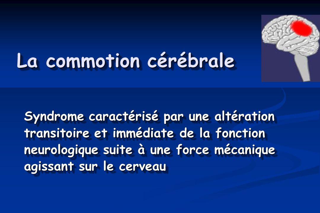 La commotion cérébrale Syndrome caractérisé par une altération transitoire et immédiate de la fonction neurologique suite à une force mécanique agissant sur le cerveau