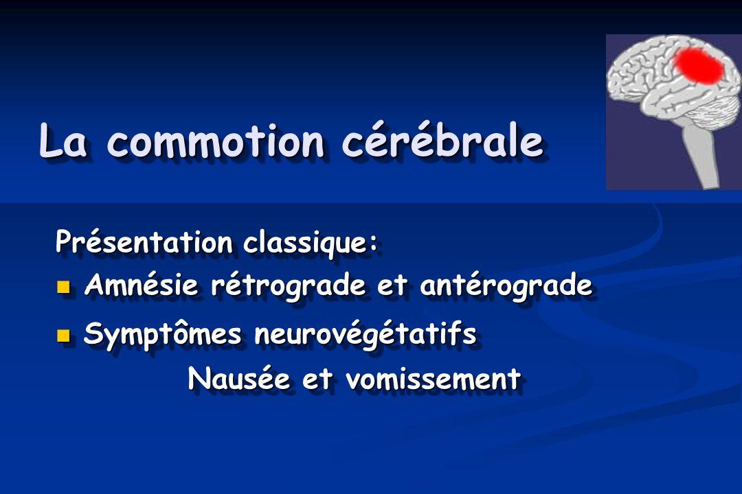 La commotion cérébrale Présentation classique: Amnésie rétrograde et antérograde Amnésie rétrograde et antérograde Symptômes neurovégétatifs Symptômes neurovégétatifs Nausée et vomissement Présentation classique: Amnésie rétrograde et antérograde Amnésie rétrograde et antérograde Symptômes neurovégétatifs Symptômes neurovégétatifs Nausée et vomissement