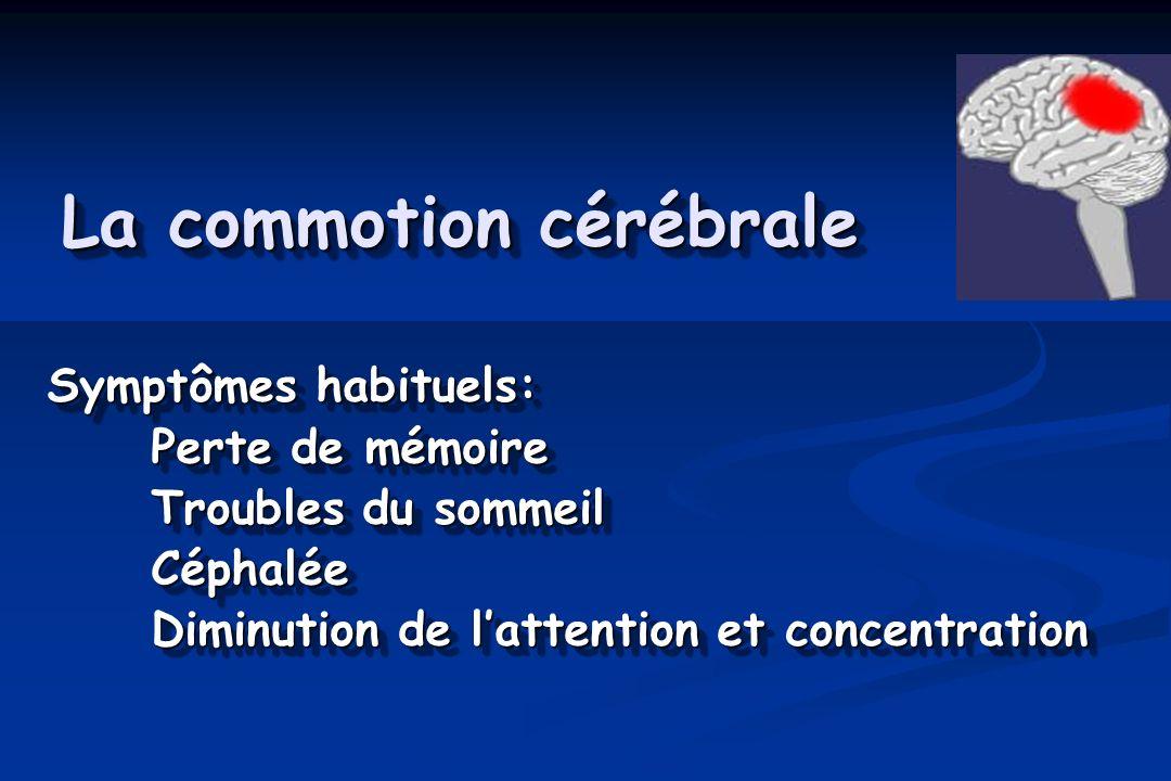 La commotion cérébrale Symptômes habituels: Perte de mémoire Troubles du sommeil Céphalée Diminution de lattention et concentration Symptômes habituel