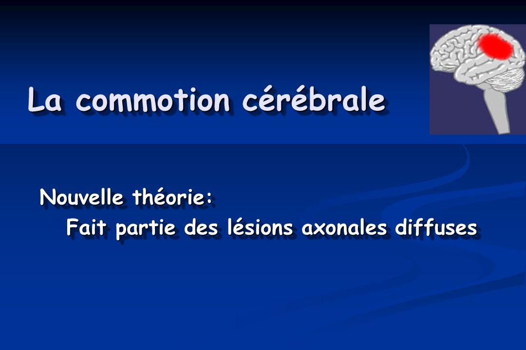 La commotion cérébrale Nouvelle théorie: Fait partie des lésions axonales diffuses Fait partie des lésions axonales diffuses Nouvelle théorie: Fait partie des lésions axonales diffuses Fait partie des lésions axonales diffuses