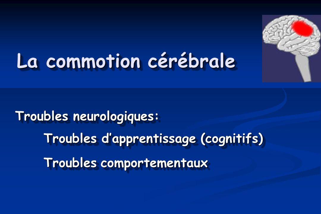 La commotion cérébrale Troubles neurologiques: Troubles dapprentissage (cognitifs) Troublescomportementaux Troubles neurologiques: Troubles dapprentis