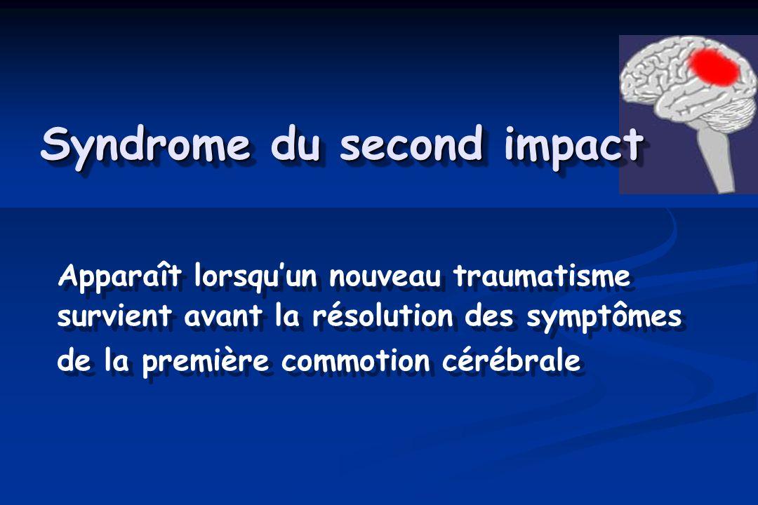 Syndrome du second impact Apparaît lorsquun nouveau traumatisme survient avant la résolution des symptômes de la première commotion cérébrale Apparaît lorsquun nouveau traumatisme survient avant la résolution des symptômes de la première commotion cérébrale