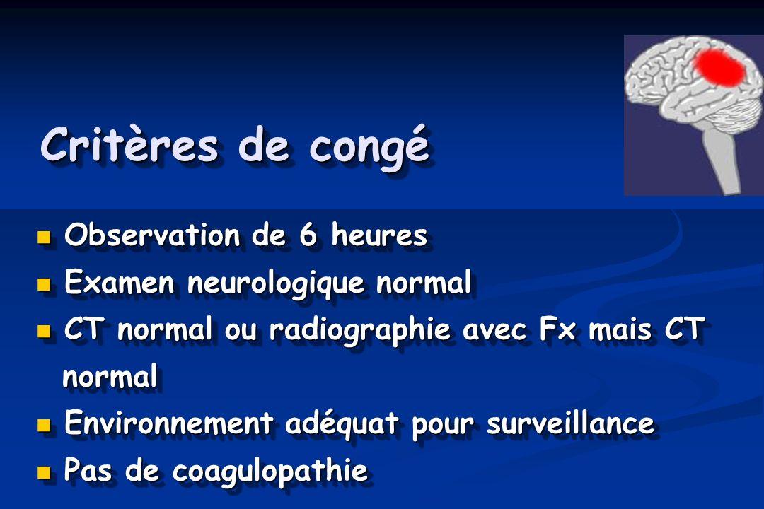 Critères de congé Observation de 6 heures Observation de 6 heures Examen neurologique normal Examen neurologique normal CT normal ou radiographie avec