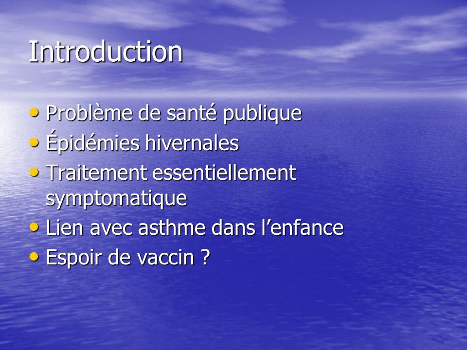 Introduction Problème de santé publique Problème de santé publique Épidémies hivernales Épidémies hivernales Traitement essentiellement symptomatique