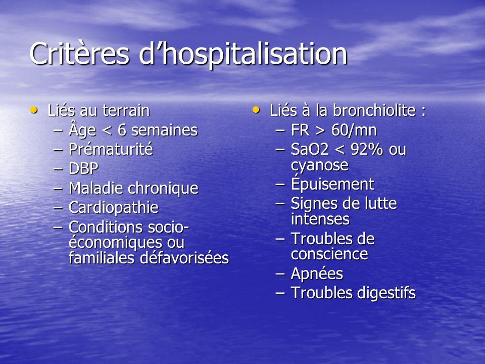 Critères dhospitalisation Liés au terrain Liés au terrain –Âge < 6 semaines –Prématurité –DBP –Maladie chronique –Cardiopathie –Conditions socio- écon