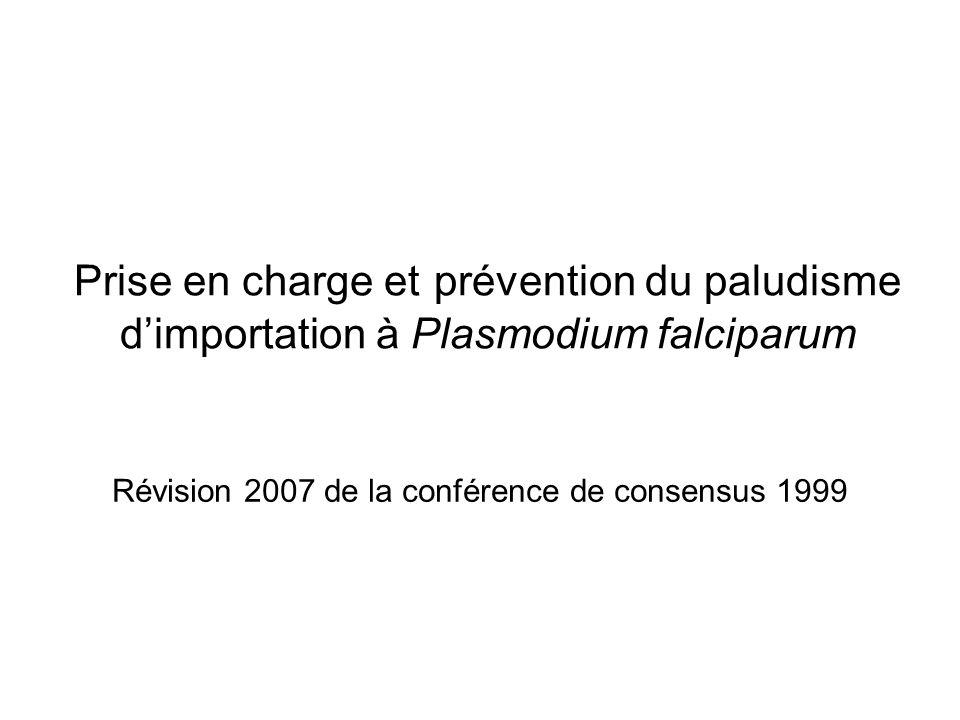 Epidémiologie 4000 à 6000 cas/an en France 30 à 40 % des fièvres au retour de zones impaludées sont des paludismes (80% à Plasmodium Falciparum) 30 % sont des sujets non immuns Survient dans les 2 jusquà 6 mois pour les migrants suivant le retour dune zone dendémie 3 % de formes graves dont 10% de formes mortelles surtout chez le sujet non immun