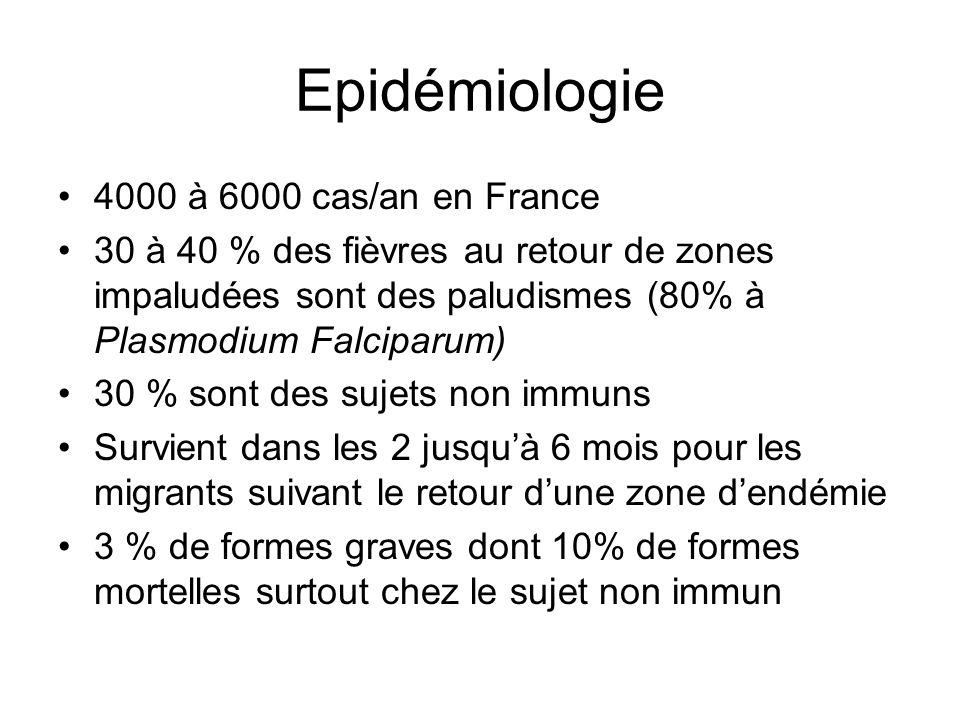 Epidémiologie 4000 à 6000 cas/an en France 30 à 40 % des fièvres au retour de zones impaludées sont des paludismes (80% à Plasmodium Falciparum) 30 %