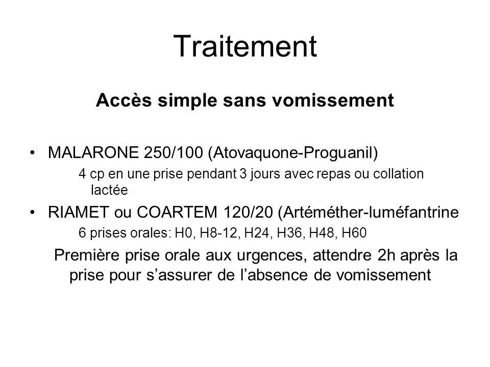 Traitement Accès simple sans vomissement MALARONE 250/100 (Atovaquone-Proguanil) 4 cp en une prise pendant 3 jours avec repas ou collation lactée RIAM