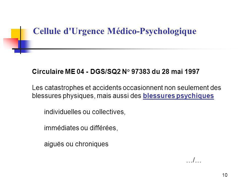 10 Circulaire ME 04 - DGS/SQ2 N° 97383 du 28 mai 1997 Les catastrophes et accidents occasionnent non seulement des blessures physiques, mais aussi des