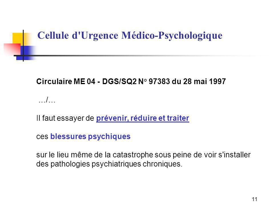 11 Circulaire ME 04 - DGS/SQ2 N° 97383 du 28 mai 1997 …/… Il faut essayer de prévenir, réduire et traiter ces blessures psychiques sur le lieu même de