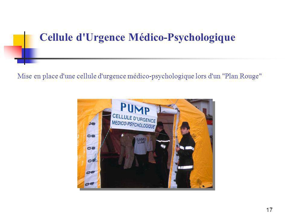 17 Cellule d'Urgence Médico-Psychologique Mise en place d'une cellule d'urgence médico-psychologique lors d'un