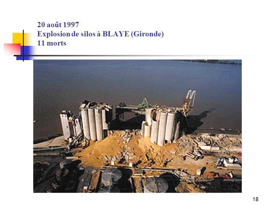 18 20 août 1997 Explosion de silos à BLAYE (Gironde) 11 morts