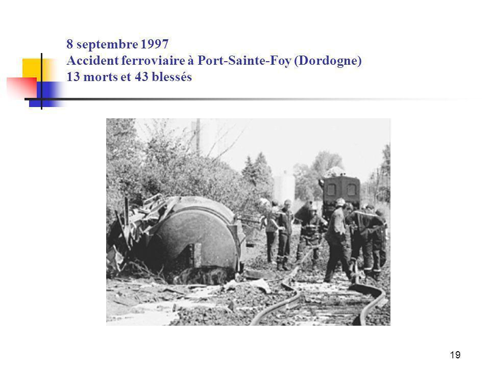19 8 septembre 1997 Accident ferroviaire à Port-Sainte-Foy (Dordogne) 13 morts et 43 blessés