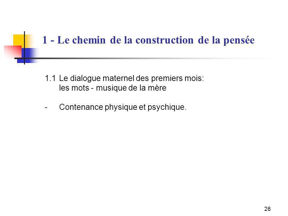 26 1.1Le dialogue maternel des premiers mois: les mots - musique de la mère - Contenance physique et psychique. 1 - Le chemin de la construction de la