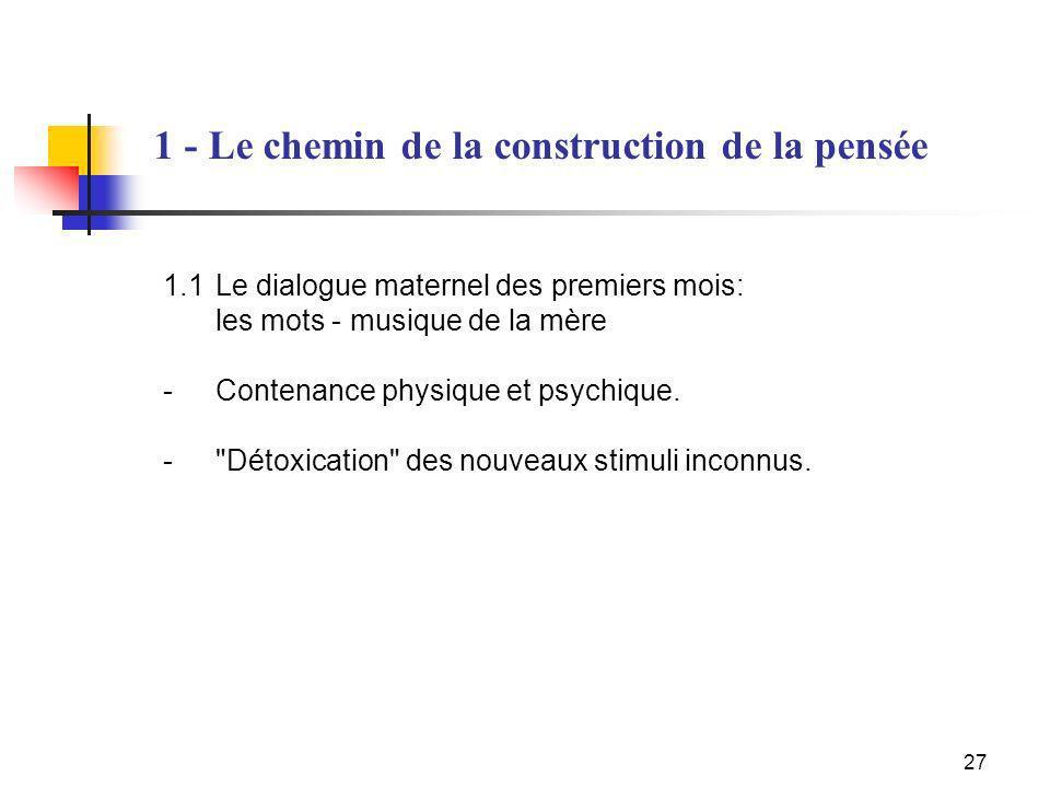 27 1.1Le dialogue maternel des premiers mois: les mots - musique de la mère - Contenance physique et psychique. -