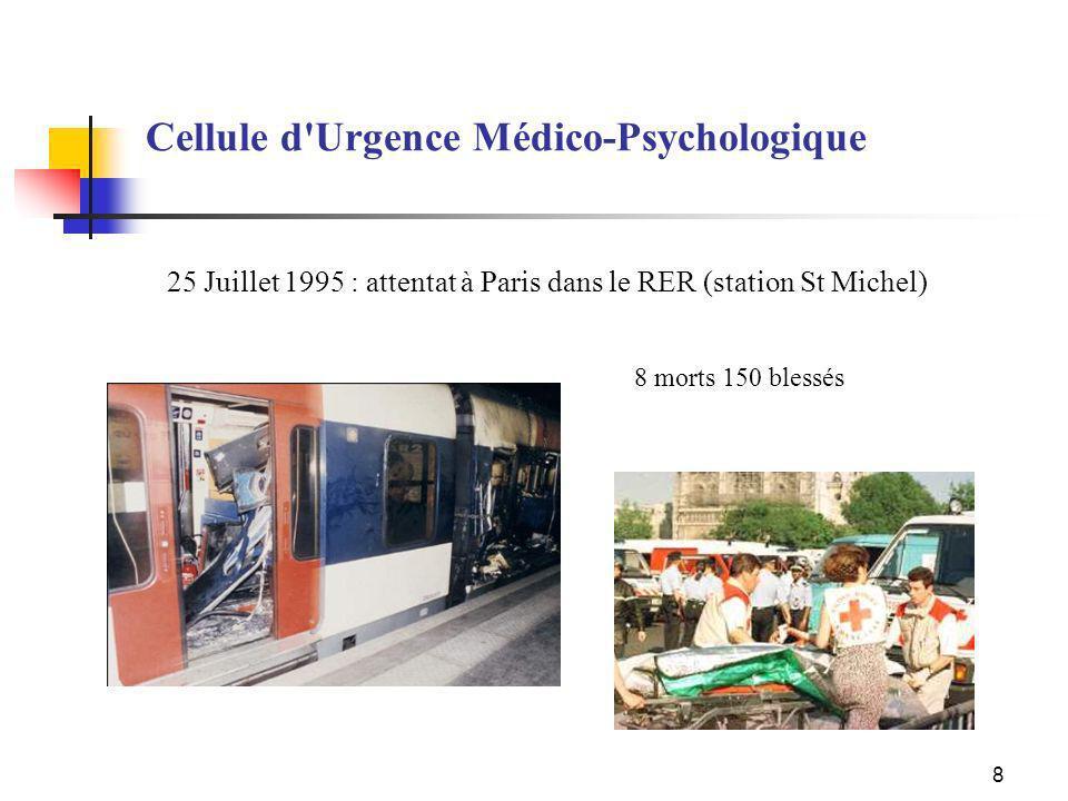 8 25 Juillet 1995 : attentat à Paris dans le RER (station St Michel) Cellule d'Urgence Médico-Psychologique 8 morts 150 blessés