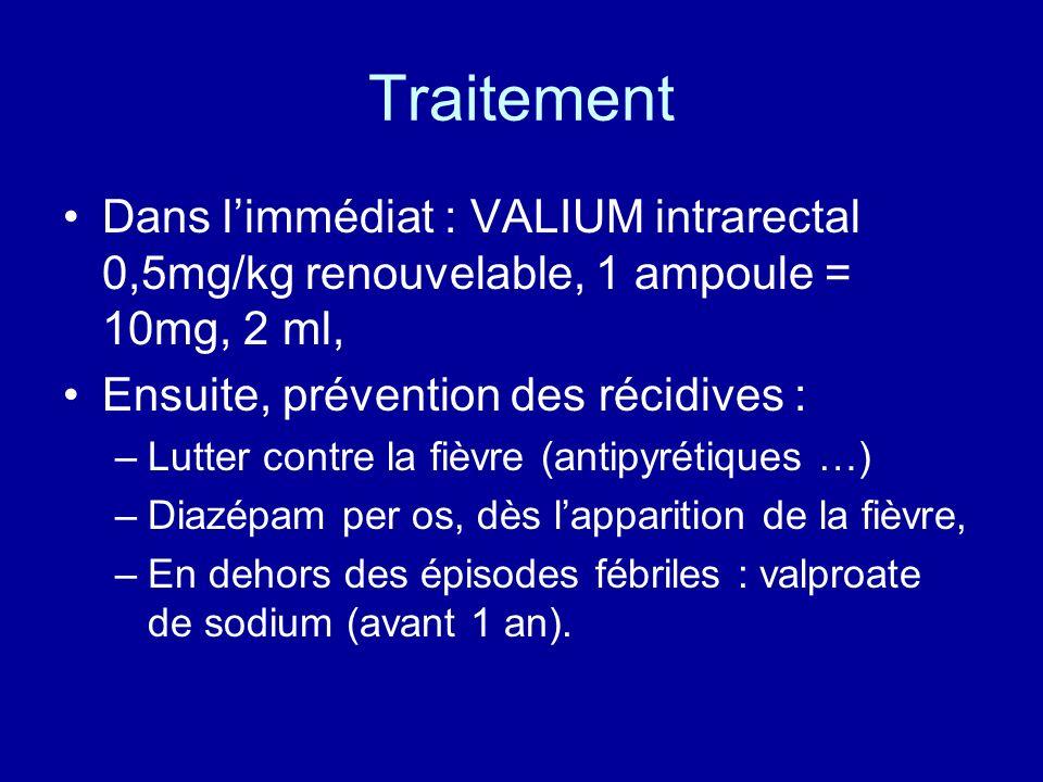 Traitement Dans limmédiat : VALIUM intrarectal 0,5mg/kg renouvelable, 1 ampoule = 10mg, 2 ml, Ensuite, prévention des récidives : –Lutter contre la fi